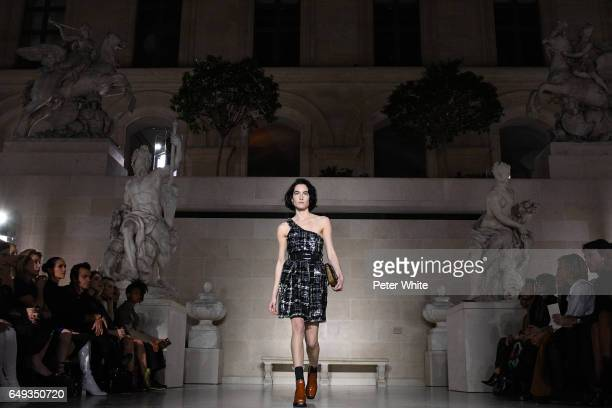 Heather Kemesky general view walks the runway during the Louis Vuitton show as part of the Paris Fashion Week Womenswear Fall/Winter 2017/2018 on...