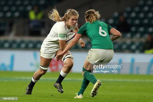 Heather Kerr of England takes on Jeamie Deacon of Ireland during the Quilter International match between England Women and Ireland Women at...