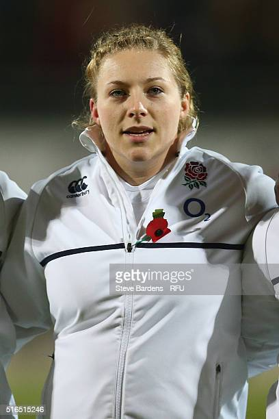 Heather Kerr of England women looks on prior to the Women's Six Nations match between France women and England women at Stade de la Rabine on March...