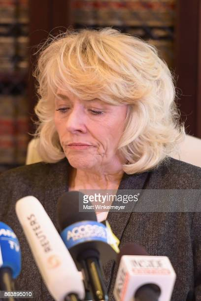 Heather Kerr represented by attorney Gloria Allred speak during a press conference regarding the sexual assault allegations that have been brought...