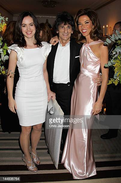 Heather Kerzner Ronnie Wood and Sally Humphreys pose during the Marie Curie Cancer Care Fundraiser hosted by Heather Kerzner at Claridge's Hotel on...
