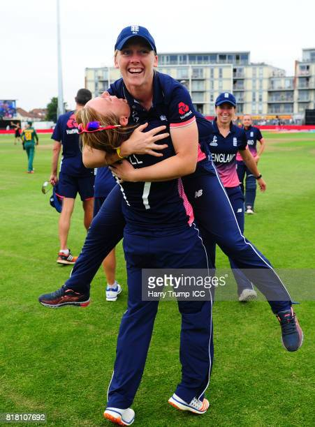 Heather Knight and Danielle Hazell of England celebrate victory during the ICC Women's World Cup 2017 SemiFinal match between England and South...