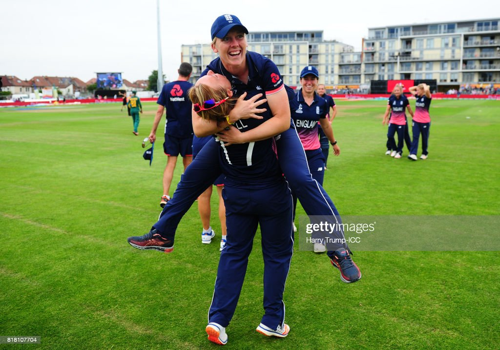 Heather Knight and Danielle Hazell of England celebrate victory during the ICC Women's World Cup 2017 Semi-Final match between England and South Africa at The County Ground on July 18, 2017 in Bristol, England.