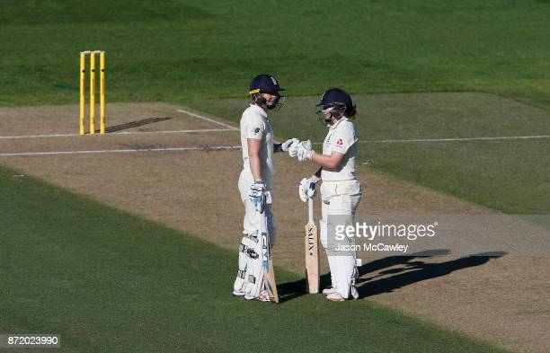 Heather Knight and Tammy Beaumont of England during the Women's Test match between Australia and England at North Sydney Oval on November 9 2017 in...