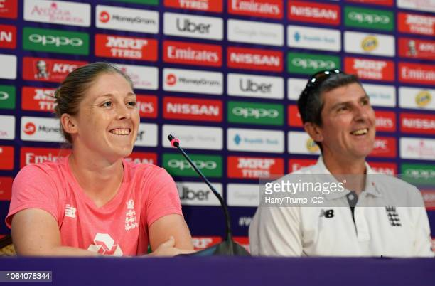 Heather Knight Captain of England and Mark Robinson Head Coach of England look on during an England Nets Session and Press Conference at the Sir...