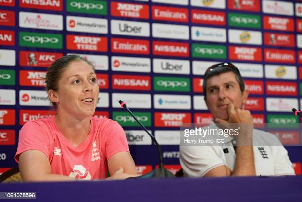 Heather Knight Captain of England and Mark Robinson Head Coach of England looks on during an England Nets Session and Press Conference at the Sir...