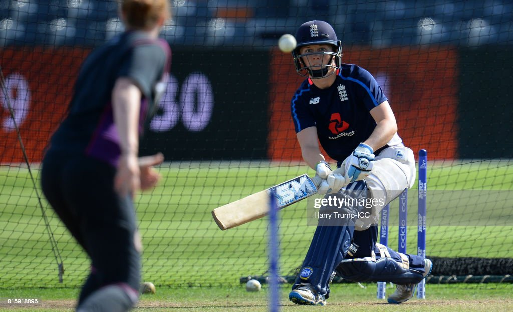 Heather Knight, Captain of England bats during the England v South Africa - ICC Women's World Cup: Previews at the Brightside Ground on July 17, 2017 in Bristol, England.