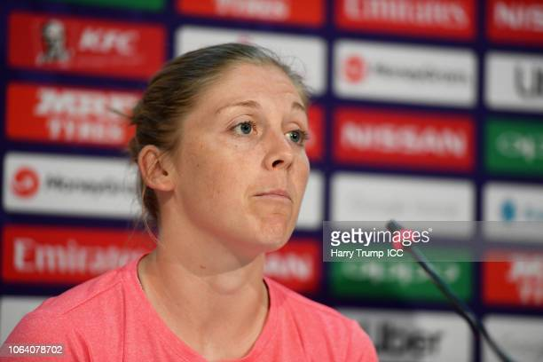 Heather Knight Captain of England looks on during an England Nets Session and Press Conference at the Sir Vivian Richards Stadium on November 21 2018...
