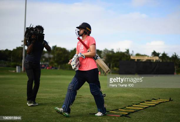 Heather Knight Captain of England makes her way off after having a bat in the nets during an England Nets Session at Coolidge Cricket Ground on...