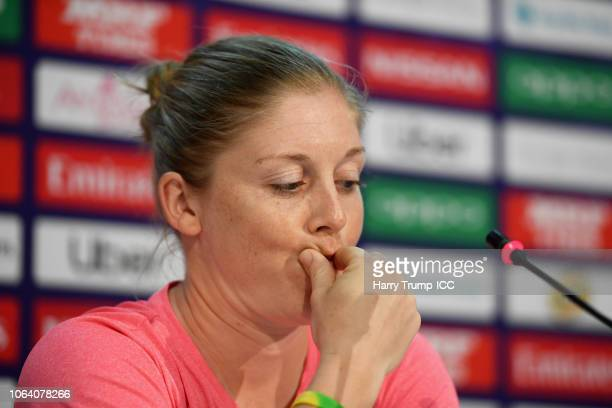 Heather Knight Captain of England reacts during an England Nets Session and Press Conference at the Sir Vivian Richards Stadium on November 21 2018...