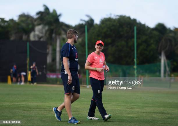 Heather Knight Captain of England reacts during an England Nets Session at Coolidge Cricket Ground on November 20 2018 in Antigua Antigua and Barbuda