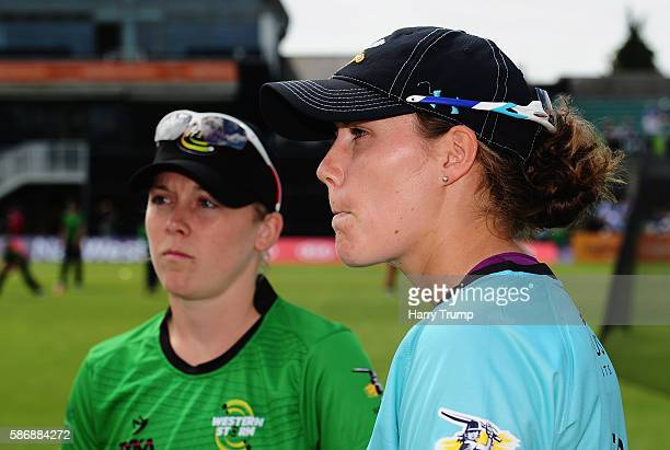 Heather Knight Captain of Western Storm and Natalie Sciver Captain of Surrey Stars look on during the Womens Kia Super League match between Western...