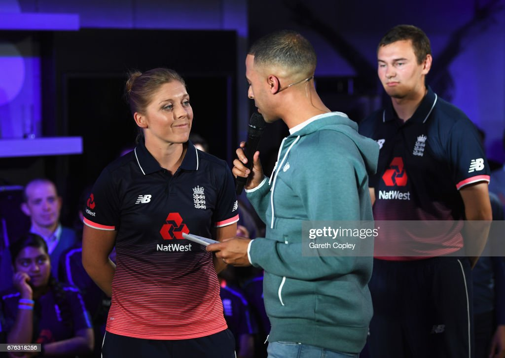 Heather Knight, England Women's captain talks with TV presenter and Radio DJ Marvin Humes during the New Balance England Cricket Kit Launch at the New Balance store, Oxford Street on May 2, 2017 in London, England.
