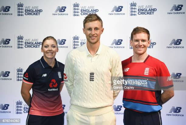 Heather Knight Joe Root and Eoin Morgan of England pose during the New Balance England Cricket Kit Launch at the New Balance store Oxford Street on...
