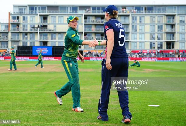 Heather Knight of England and Dane Van Niekerk of South Africa shake hands at the end of the match during the ICC Women's World Cup 2017 SemiFinal...