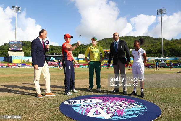 Heather Knight of England and Dane van Niekerk of South Africa pictured during the coin toss ahead of the ICC Women's World T20 2018 match between...