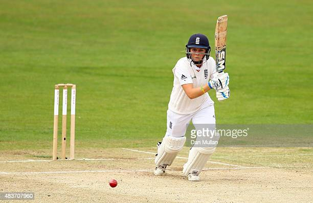 Heather Knight of England bats during day two of the Kia Women's Test of the Women's Ashes Series between England and Australia Women at The Spitfire...
