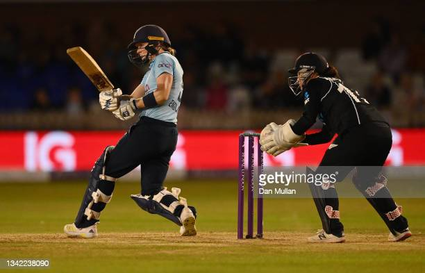 Heather Knight of England bats during the 4th One Day International match between England and New Zealand at The Incora County Ground on September...