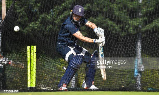 Heather Knight of England bats during the England Women's Cricket Training Session at The County Ground on September 20 2020 in Derby England