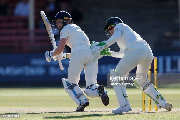 Heather Knight of England bats during the Women's Test match between Australia and England at North Sydney Oval on November 9 2017 in Sydney Australia
