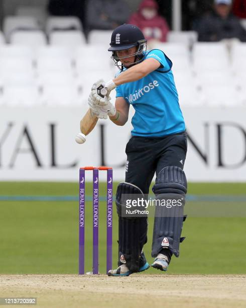 Heather Knight of England battingduring the First One Day International between England Women and India Women at Scarborough CC, North Marie Road,...