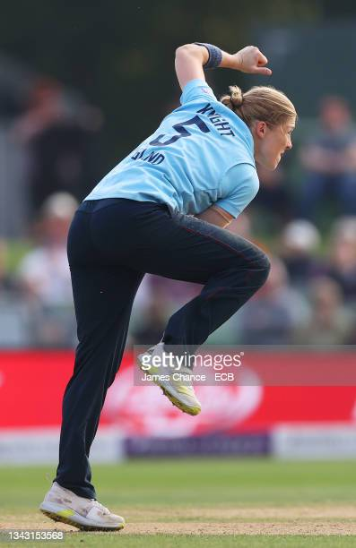 Heather Knight of England bowls during the 5th One Day International match between England and New Zealand at The Spitfire Ground on September 26,...