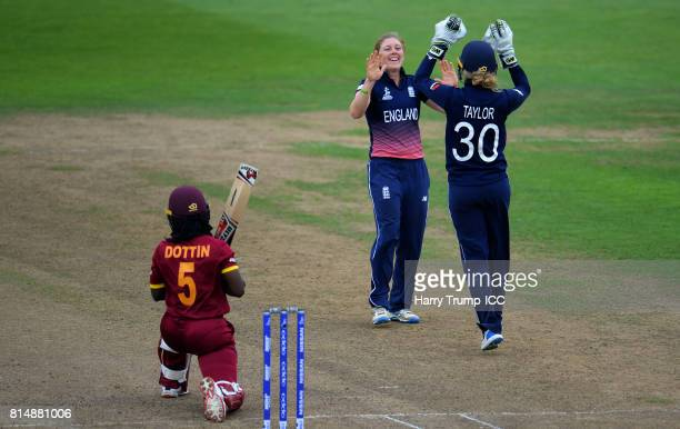 Heather Knight of England celebrates after dismissing Deandra Dottin of West Indies during the ICC Women's World Cup 2017 match between England and...