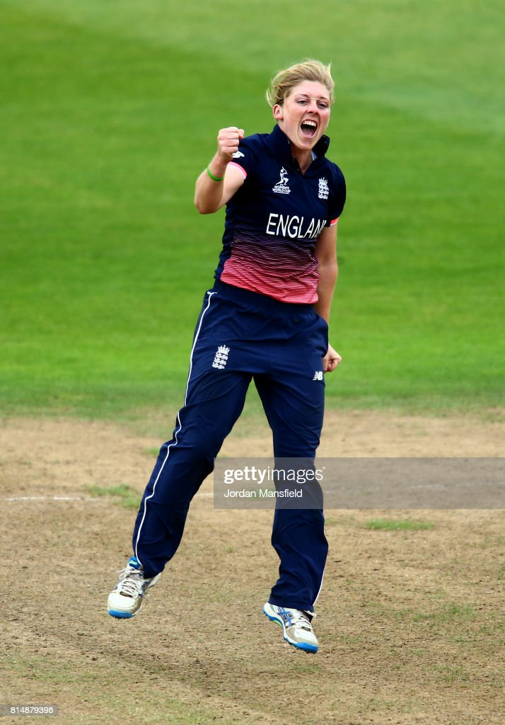Heather Knight of England celebrates dismissing Deandra Dottin of West Indies during the ICC Women's World Cup 2017 match between England and West Indies at The County Ground on July 15, 2017 in Bristol, England.