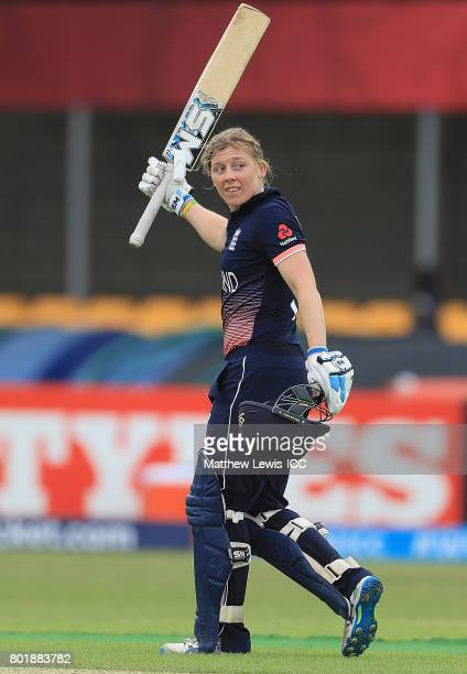 Heather Knight of England celebrates her century during the ICC Women's World Cup 2017 match between England and Pakistan at Grace Road on June 27...