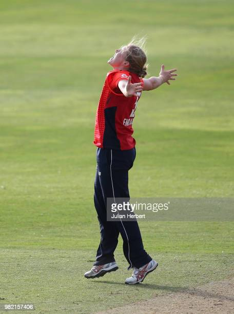 Heather Knight of England celebrates the Wicket of Amy Satterthwaite of New Zealand during the International T20 TriSeries match between England...