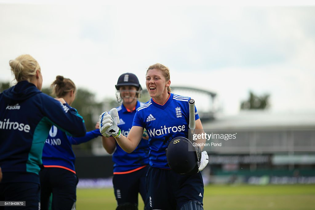 Heather Knight of England celebrates victory after the 1st Royal London ODI match between England Women and Pakistan Women at Grace Road Cricket Ground on June 21, 2016 in Leicester, England.