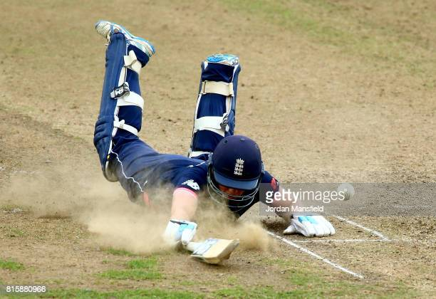 Heather Knight of England dives to make her ground during the ICC Women's World Cup 2017 match between England and West Indies at The County Ground...