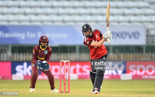 Heather Knight of England drives the ball down the ground while batting during the 1st Vitality IT20 match between England Women and West Indies...