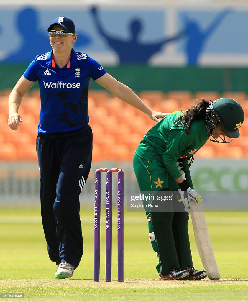 Heather Knight of England during the 1st Royal London ODI match between England Women and Pakistan Women at Grace Road Cricket Ground on June 21, 2016 in Leicester, England.