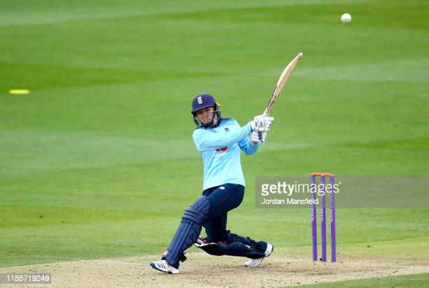 Heather Knight of England hits out during the 3rd One Day International match between England Women and West Indies Women at the Cloudfm County...