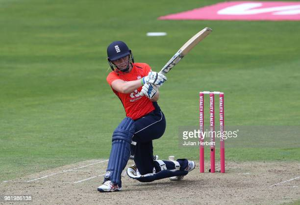 Heather Knight of England hits out during the International T20 TriSeries match between England Women and South Africa Women at The Cooper Associates...