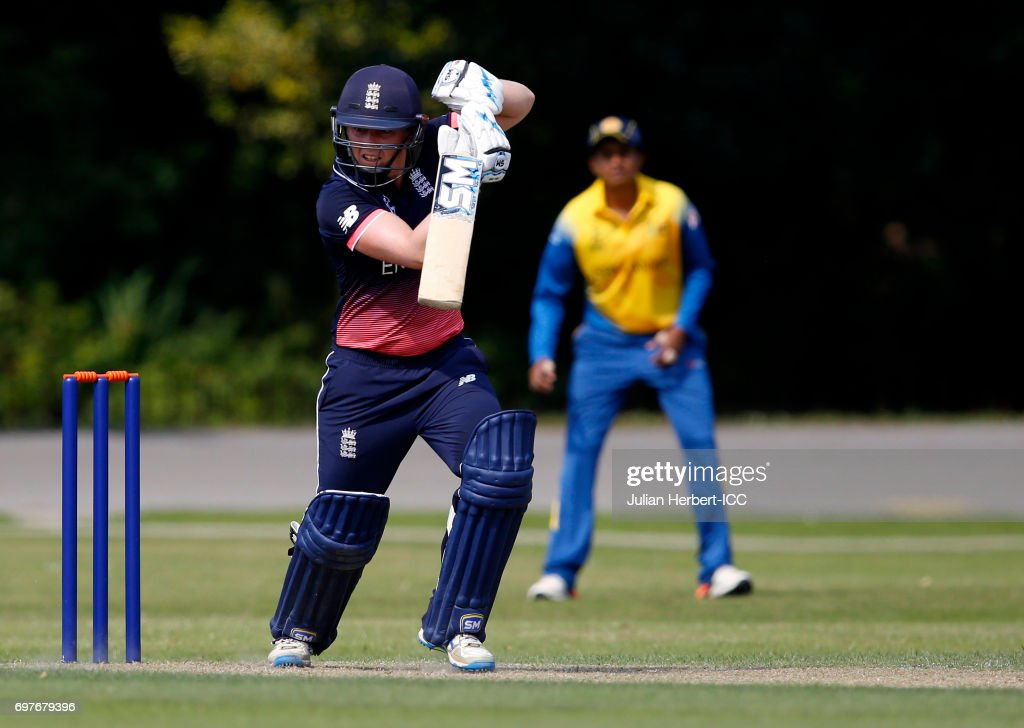 Heather Knight of England in action during The ICC Women's World Cup warm up match between England and Sri Lanka at Queens Park on June 19, 2017 in Chesterfield, England.