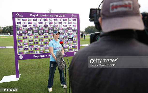 Heather Knight of England is interviewed after the 5th One Day International match between England and New Zealand at The Spitfire Ground on...