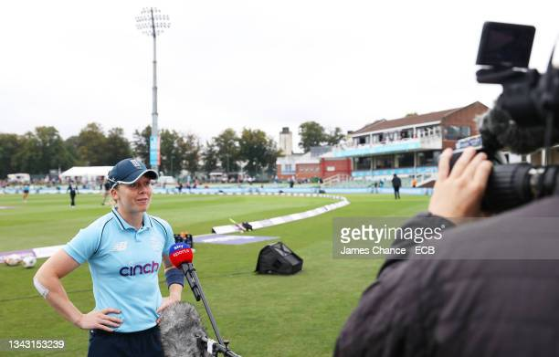 Heather Knight of England is interviewed prior to the 5th One Day International match between England and New Zealand at The Spitfire Ground on...
