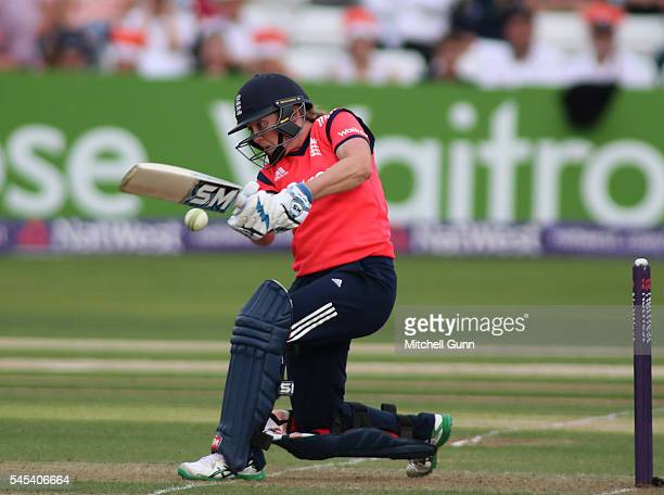 Heather Knight of England plays a shot during the 3rd Natwest International T20 played between England Women and Pakistan Women at The Essex County...