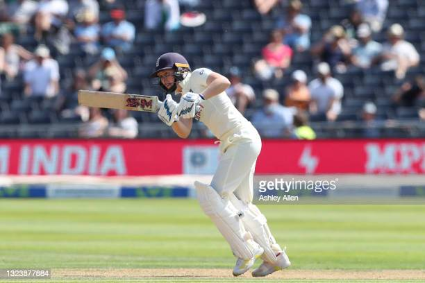 Heather Knight of England plays the ball away through midwicket on Day One of the LV= Insurance Test Match between England Women and India Women at...