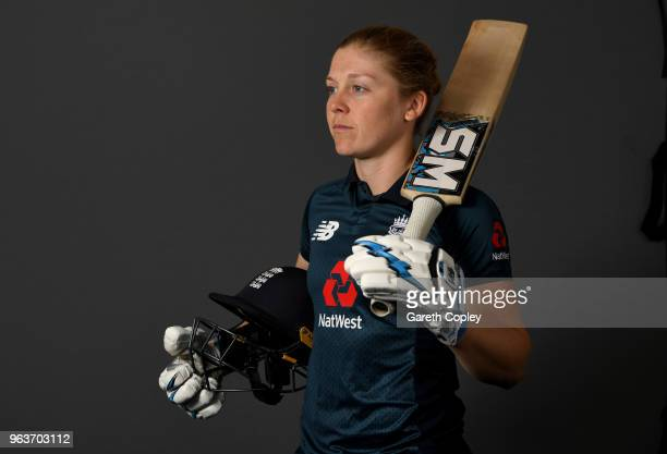 Heather Knight of England poses for a portrait on May 30 2018 in Loughborough England
