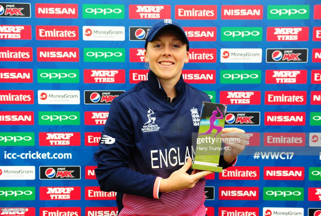 Heather Knight of England poses with the player of the match award during the ICC Women's World Cup 2017 match between England and the West Indies at The County Ground on July 15, 2017 in Bristol, England.