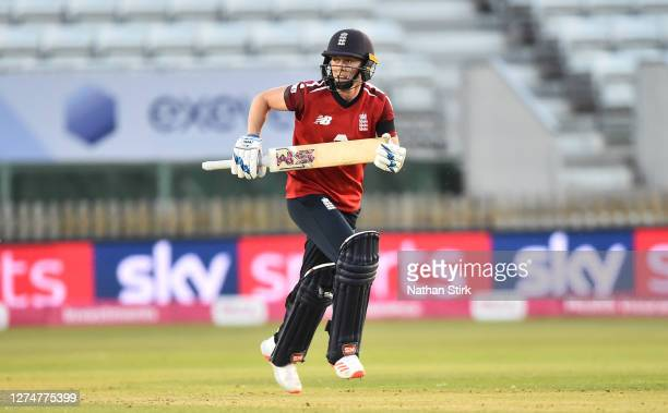 Heather Knight of England runs between the wicket while batting during the 1st Vitality IT20 match between England Women and West Indies Women at the...