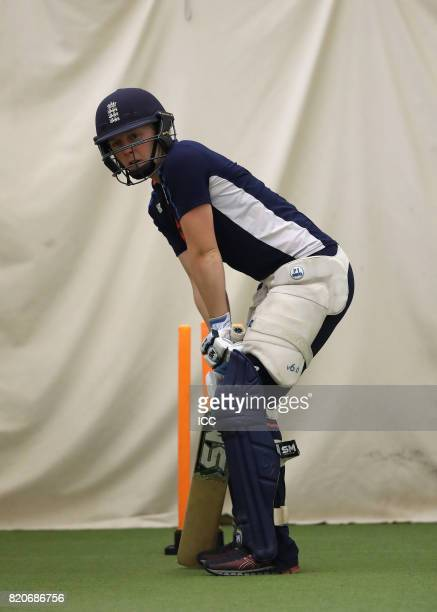 Heather Knight of England takes part in a training session before The Women's World Cup 2017 final between England and India at Lord's Cricket Ground...