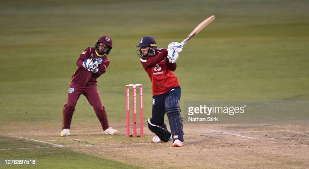 Heather Knight of England the ball while batting during the 2nd Vitality IT20 match between England Women and West Indies Women at the Incora County...