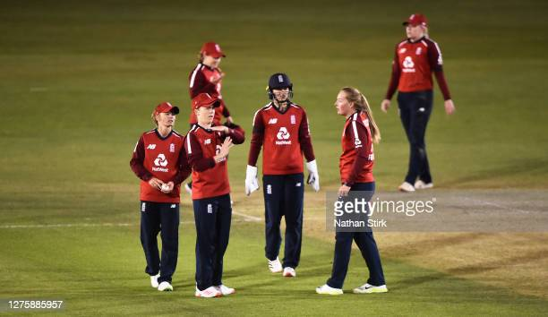 Heather Knight of England uses the team's final review during the 2nd Vitality IT20 match between England Women and West Indies Women at the Incora...