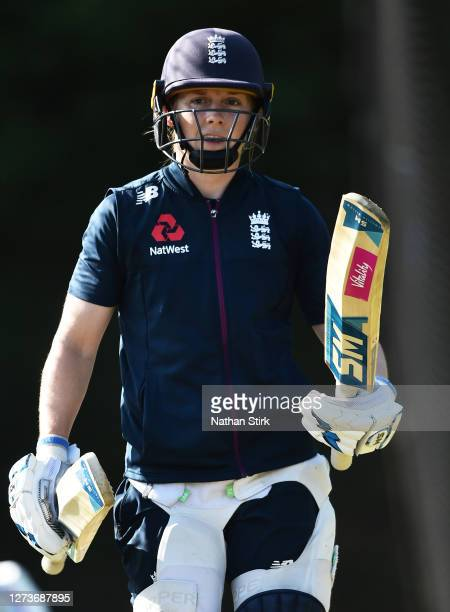 Heather Knight of England walks out of the nets after batting during the England Women's Cricket Training Session at The County Ground on September...