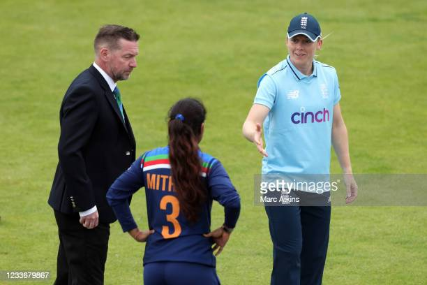 Heather Knight of England wins the toss and elects to field during the Women's First One Day International between England and India at Bristol...