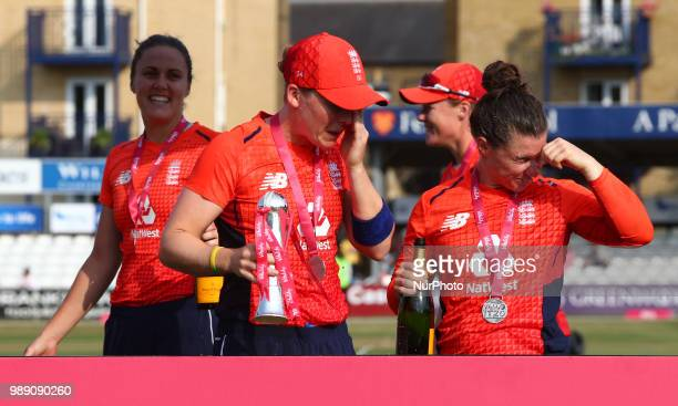 Heather Knight of England Women gets Champagne in her eyes After International Twenty20 Final match between England Women and New Zealand Women at...